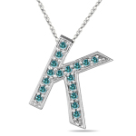 1/4 Cts Blue Diamond K Initial Pendant in 14K White Gold