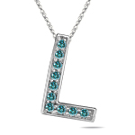 1/4 Cts Blue Diamond L Initial Pendant in 14K White Gold