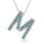 0.26 Cts Blue Diamond M Initial Pendant in 14K White Gold
