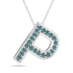 0.26 Cts Blue Diamond P Initial Pendant in 14K White Gold