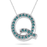0.26 Cts Blue Diamond Q Initial Pendant in 14K White Gold