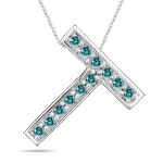 0.24 Cts Blue Diamond T Initial Pendant in 14K White Gold