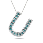 1/4 Cts Blue Diamond U Initial Pendant in 14K White Gold