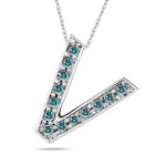 0.26 Cts Blue Diamond V Initial Pendant in 14K White Gold