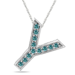 0.24 Cts Blue Diamond Y Initial Pendant in 14K White Gold