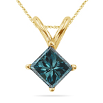 0.71 Cts Blue Diamond Solitaire Pendant in 14K Yellow Gold