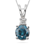 0.47 Cts Blue & White Diamond Pendant in 18K White Gold