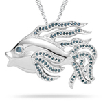 0.52 Cts Blue Diamond Fish Pendant in Silver