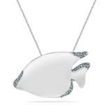 0.48 Cts Blue Diamond Fish Pendant in Silver
