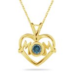 0.28 Cts Blue Diamond Mom Pendant in 14K Yellow Gold