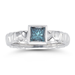 0.59 Ct Princess Blue Diamond Solitaire Ring Bezel-set- 14K White Gold