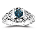 0.55 Cts Blue & White Diamond Filigree Ring in 14K White Gold