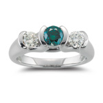 1.00 Ct Blue & White Diamond Three Stone Ring in 18K White Gold