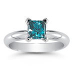 0.51 Cts Blue Diamond Solitaire Ring in 14K White Gold