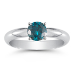 0.59 Cts Round Blue Diamond Solitaire Ring in 14K White Gold