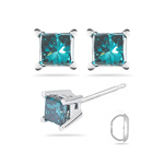 0.10 Cts ( I1 ) Princess Teal Blue Diamond Stud Earrings in 14K White Gold