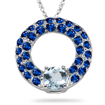 2.21-2.27 Cts Blue Sapphire & 1.41 Cts Aquamarine Circle Pendant in 14K White Gold