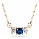 4 mm Blue Sapphire & 1/4 Cts Diamond Pendant in 18K Yellow Gold