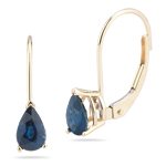 1.75 Ct 7x5 mm AA Pear Blue Sapphire Lever Backs Earrings in 14KY Gold