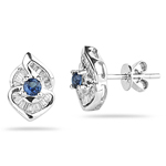 0.27 Cts Diamond & 0.22 Cts Blue Sapphire Earrings in 18K White Gold