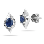 0.08 Cts Diamond & 0.72 Cts Blue Sapphire Earrings in 18K White Gold