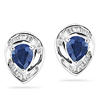 0.20 Cts Diamond & 0.88 Cts Blue Sapphire Earrings in 18K White Gold