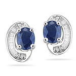 0.16 Cts Diamond & 0.85 Cts Blue Sapphire Earrings in 18K White Gold