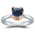 1.00 Ct of 6 mm AA Round Blue Sapphire Ring in 14K Two Tone Gold
