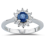 0.32 Cts Diamond & 0.48 Cts Blue Sapphire Ring in 14K White Gold