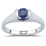 0.40 Cts of 4.7 mm AA Round Blue Sapphire Solitaire Ring in 14K White Gold