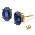 1.20 Cts Blue Sapphire Stud Earrings in 14K Yellow Gold