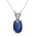 0.61 Ct 6x4mm AA Oval Blue Sapphire Solitaire Scroll Pendant-14KW Gold