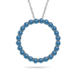 0.95 Cts Swiss Blue Topaz Circle Pendant in 14K White Gold