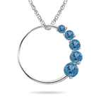 0.55 Cts AA Round Swiss Blue Topaz Journey Circle Pendant in 14KW Gold