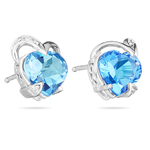 0.03 Cts Diamond & 2.85 Cts of 7 mm AA Heart Swiss Blue Topaz Heart Earrings in 14K White Gold