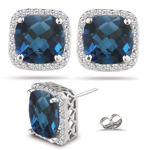 1/3 Ct Diamond & 4.10 Ct Blue Topaz Earrings in 14K White Gold