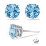 1.20 Cts of 5 mm AA Round Blue Topaz Stud Earrings in 14K White Gold