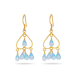 18K Gold Blue Topaz Briolette (10 Cts) Earrings