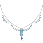 12.40 Cts Blue Topaz Necklace in Sterling Silver