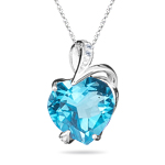 Diamond & 4.30 Cts Swiss Blue Topaz Heart Pendant in 14K White Gold