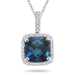 1/4 Cts Diamond & 2.05 Cts London Blue Topaz Pendant in 14K White Gold