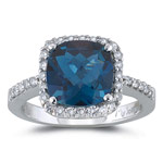 0.33 Cts Diamond & 2.12 Cts of 8 mm AA Cushion Checker Board London Blue Topaz Ring in 14K White Gold