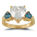 Blue & White Topaz Heart Ring in 10K Yellow Gold