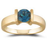 0.89 Cts of 6 mm AA Round London Blue Topaz Solitaire Ring in 14K Yellow Gold
