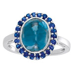 5.49 Cts Blue Topaz & 0.49 Cts Blue Sapphire Ring in 14K White Gold