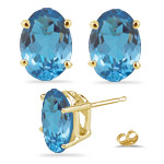 3.85 Ct 8x6 mm AA Oval Swiss Blue Topaz Stud Earrings 14K Yellow Gold