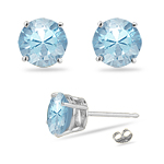 1.45 Cts Blue Zircon Stud Earrings in 14K White Gold