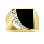0.05 Cts Diamond & Onyx Men's Ring in 14K Yellow Gold