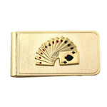 23 Karat Gold Electroplate Fan of Cards Money Clip