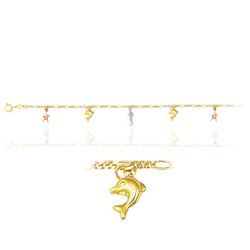 Princess Childrens Fish Star Bracelet in 14K Three Tone Gold